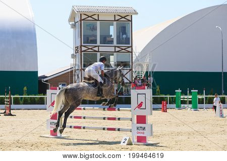 TAGANROG ROSTOV-ON-DON REGION AUGUST 6 2017: Competitions in equestrian sport devoted to the Day of Liberation of the Neklinovskiy district. Horseman on a spotted horse jumps over an obstacle in the background of a judging tower