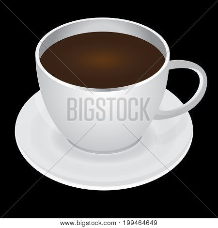 White pair of cup of coffee and saucer