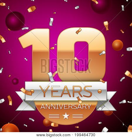 Realistic Ten Years Anniversary Celebration Design. Golden numbers and silver ribbon, confetti on purple background. Colorful Vector template elements for your birthday party