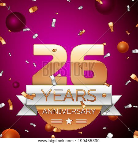 Realistic Twenty six Years Anniversary Celebration Design. Golden numbers and silver ribbon, confetti on purple background. Colorful Vector template elements for your birthday party
