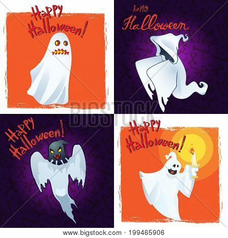 Collection Happy Halloween Greeting Cards with Cartoon Ghosts. Vector illustration.