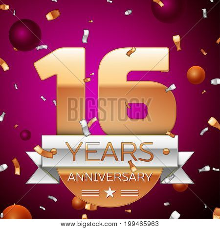 Realistic Sixteen Years Anniversary Celebration Design. Golden numbers and silver ribbon, confetti on purple background. Colorful Vector template elements for your birthday party