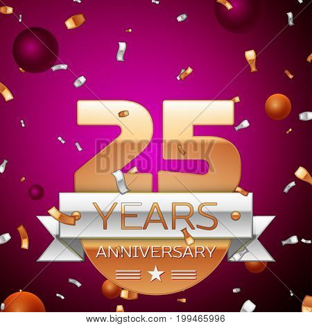 Realistic Twenty five Years Anniversary Celebration Design. Golden numbers and silver ribbon, confetti on purple background. Colorful Vector template elements for your birthday party