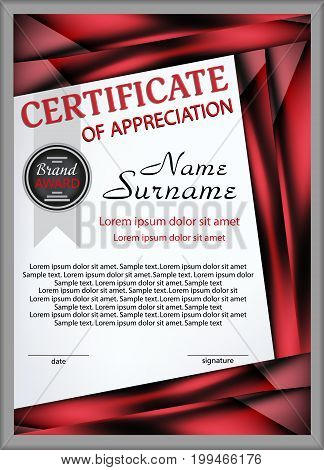 Certificate template of appreciation with decorative elements. Vector illustration.