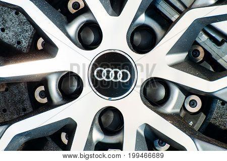 Wheel Car Audi R-8. Russia, Moscow. 19 July 2017