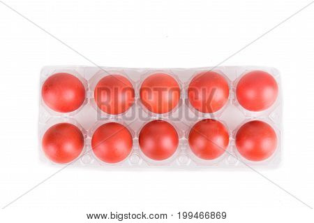 Tray Of Red Color Eggs For Festive Greetings And Gift
