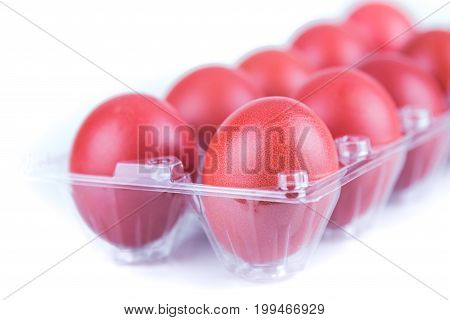Selectivve Focus On Red Color Eggs For Festive Greetings Gift