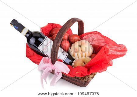 Hamper Basket Consist Red Eggs, Peach And Red Wine