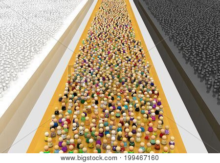 Crowd of small symbolic figures black white and color groups 3d illustration vertical cartoon