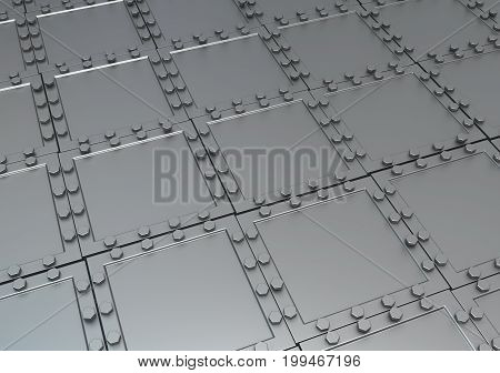 Metal plates armored surface 3d illustration horizontal background wallpaper