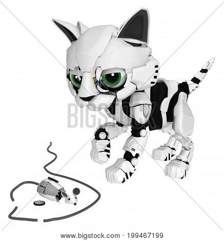 Robotic kitten with dead computer mouse 3d illustration horizontal isolated