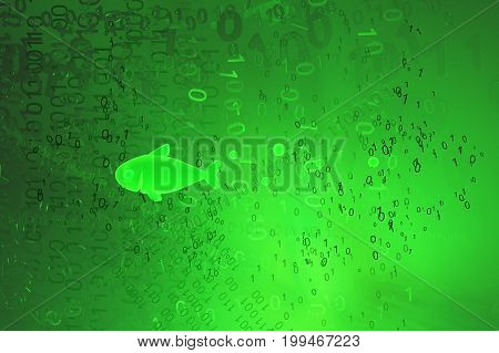 Virtual green glowing fish swimming in code 3d illustration horizontal
