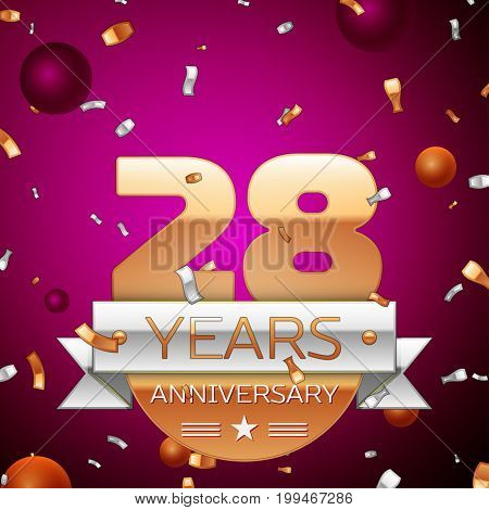 Realistic Twenty eight Years Anniversary Celebration Design. Golden numbers and silver ribbon, confetti on purple background. Colorful Vector template elements for your birthday party