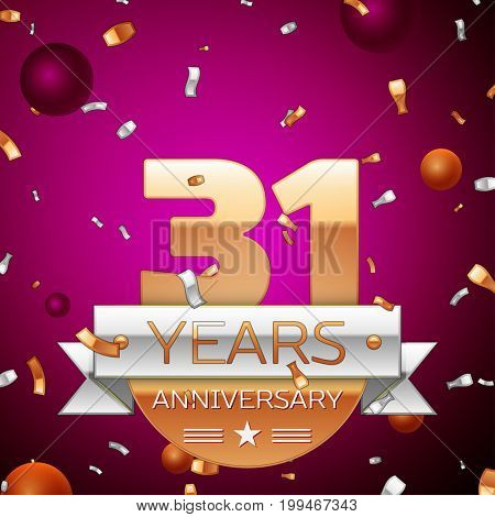 Realistic Thirty one Years Anniversary Celebration Design. Golden numbers and silver ribbon, confetti on purple background. Colorful Vector template elements for your birthday party