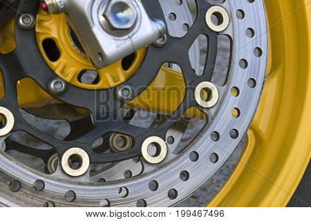Brake disc on the wheel of sports motocycles