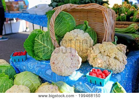 Fresh Organic Cauliflower At The Local Farmers' Market.