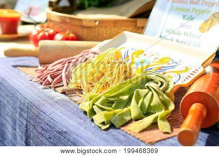 Fresh Handmade Pasta At The Farmers Market