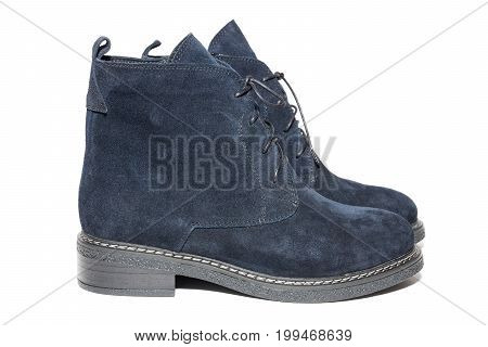 Female winter suede shoes on white background isolated studio