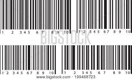 Set of 4 bar code labels. Vector illustration.