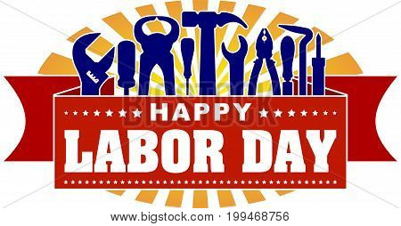 Happy Labor Day Colorful Celebrating Banner With Rays Of Sunburst And Silhouettes Of Workers Tools: