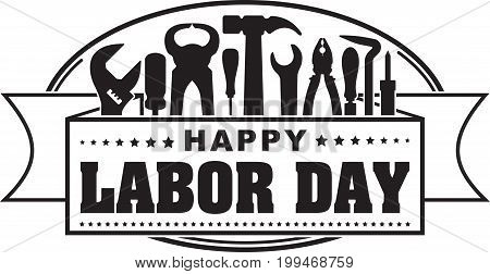 Happy Labor Day Black Oval Celebrating Banner With Silhouettes Of Workers Tools: Hammer, Screwdriver