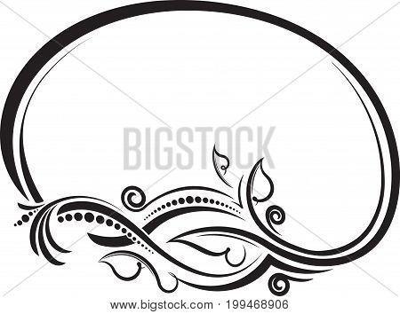 Decorative Floral Oval Black Vector Frame. Vector Illustration.