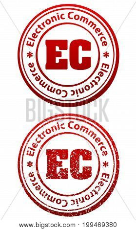 Pair of red rubber stamps in grunge and solid style with caption Electronic Commerce and abbreviation EC