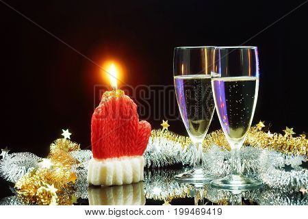 Champagne And Christmas Candle