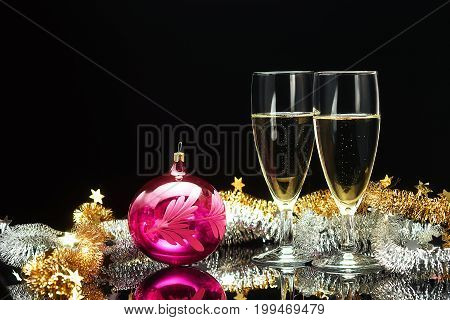 Champagne And Decorative Ball