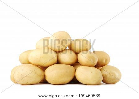 Ripe potatoes isolated on a white background