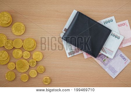 Pound coins and banknotes money. Financial concept.
