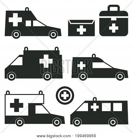 Ambulance or Emergency cars signs or symbols isolated on white background set. Ambulance car silhouettes. Vector illustration.