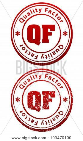 Pair Of Red Rubber Stamps In Grunge And Solid Style With Caption Quality Factor And Abbreviation Qf