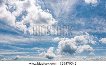 Cloudy Dynamic Formation On A Blue Summer Sky