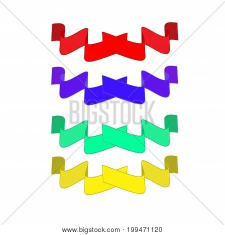 Banner color set. Emblem modern symbol of business. Set blank sticker labeling. Elegant form of the logo for sale. Colorful template for badge tag wrapping etc. Design element. Vector illustration