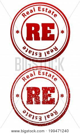 Pair of red rubber stamps in grunge and solid style with caption Real Estate and abbreviation RE
