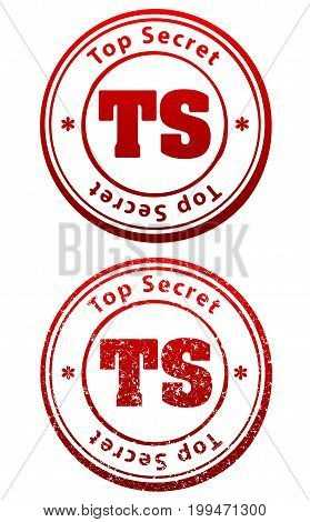 Pair Of Red Rubber Stamps In Grunge And Solid Style With Caption Top Secret And Abbreviation Ts
