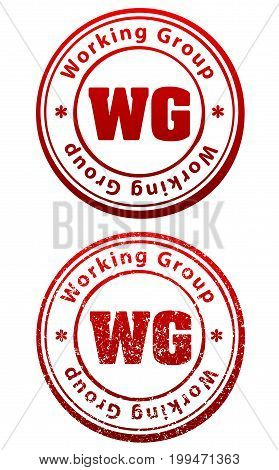 Pair Of Red Rubber Stamps In Grunge And Solid Style With Caption Working Group And Abbreviation Wg