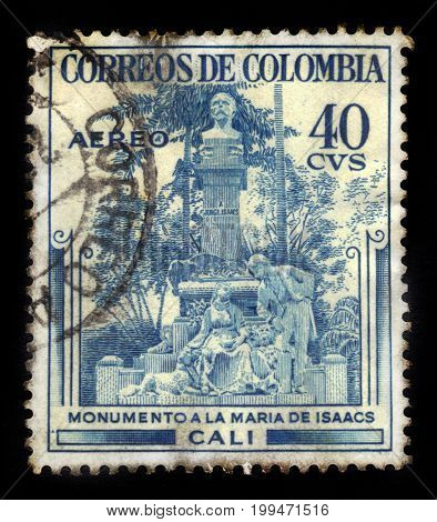 Colombia - circa 1954: A stamp printed in Colombia shows Jorge Isaacs monument in Santiago de Cali, Colombia, was a colombian writer, politician and soldier, circa 1954
