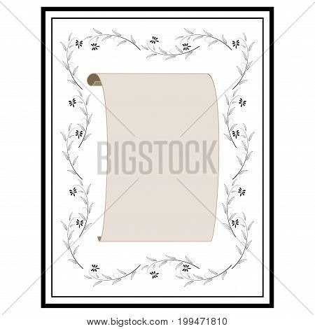 Rectangle frame of twig card. Fashion graphic background design. Modern stylish abstract texture. Monochrome template for prints textiles wrapping wallpaper. Design element. Vector illustration