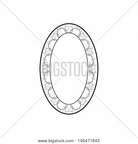 Frame oval of twig card. Fashion graphic background design. Modern stylish abstract texture. Monochrome template for prints textiles wrapping wallpaper. Design flat element. Vector illustration