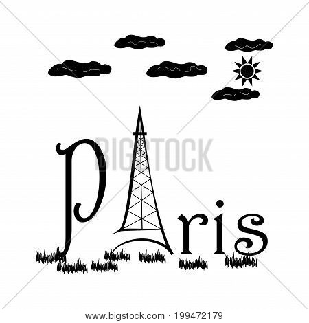 T shirt typography graphic with quote Paris. Fashion print for sports wear. Template for t shirt apparel card poster. Eiffel Tower as symbol of love. Design element. Vector illustration