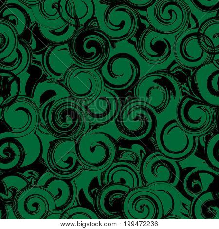 Black And Green Twirl Seamless Pattern. Abstract Texture With Twirls, Curls
