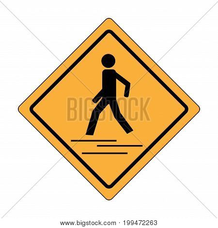 Safety trafig sign black in yellow square. Icon a pedestrian place for child near school. Symbol crosswalk human on road. Label for banner about crossing way. Design element. Vector illustration