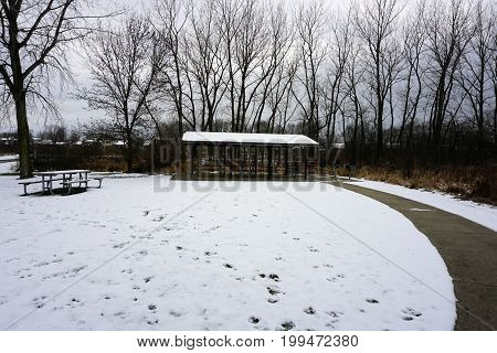 A picnic shelter is available near the parking lot of the Black Road Access to the Rock Run Preserve in Joliet, Illinois.