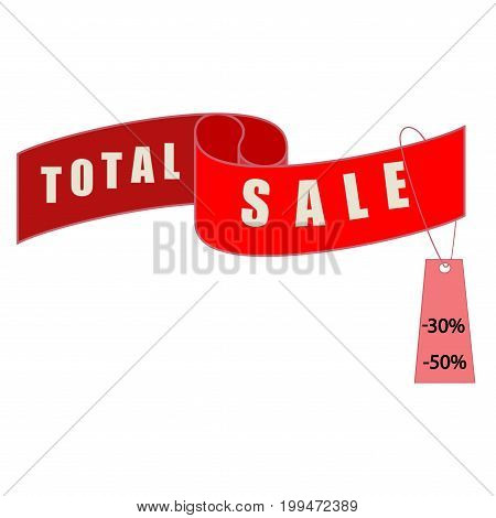 Total SALE banner. Large banner for advertising. Set colorful ribbon on white background. Offer discount sale on market. Selling offer. Big banner for advertising. Design element. Vector illustration