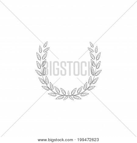 Laurel wreath olive reward. Modern symbol of victory and award achievement champion. Leaf ceremony awarding of winner tournament. Monochrome template for badge tag. Design element Vector illustration