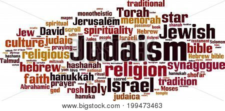 Judaism word cloud concept. Vector illustration on white