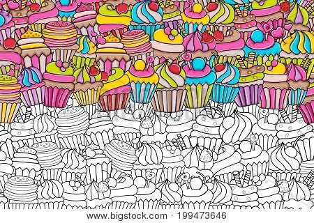 Cupcake cartoon doodle outline design. Cute black and white lineart background concept for birthday or party decoration, greeting card,  banner, flyer, brochure. Hand drawn vector illustration.