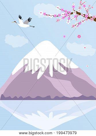 Japanese background with Fuji mountain, crane and blooming sakura